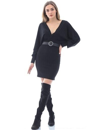 Emjey Kruvaze Yaka Uzun Kollu Elbise Siyah